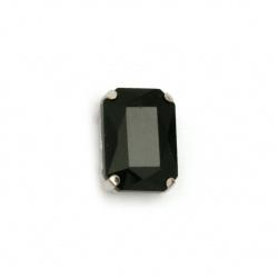 Камък стъкло за пришиване с метална основа правоъгълник 14x10x6 мм дупка 1 мм екстра качество цвят черен