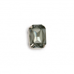 Crystal glass stone for sewing with metal base rectangle 14x10x6 mm hole 1 mm extra quality color black gray