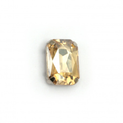Crystal glass stone for sewing with metal base rectangle 14x10x6 mm hole 1 mm extra quality color gold shade