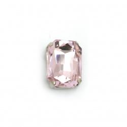 Камък стъкло за пришиване с метална основа правоъгълник 14x10x6 мм дупка 1 мм екстра качество цвят розов