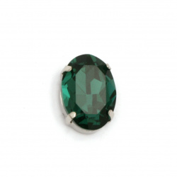 Crystal glass stone for sewing with metal base oval 18x13x7 mm hole 1 mm extra quality color green