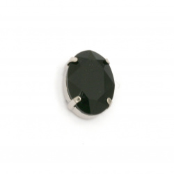Crystal glass stone for sewing with metal baseoval 18x13x7 mm hole 1 mm extra quality color black