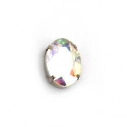 Crystal glass stone for sewing with metal base oval 18x13x7 mm hole 1 mm extra quality color white rainbow