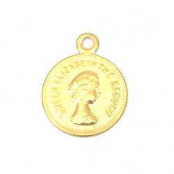Monedă metalică aurie 15 mm cu un inel -50 bucăți