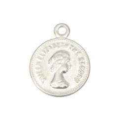 Monedă metalică față argintie 15 mm cu un inel -50 bucăți