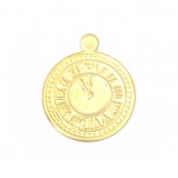 Ceas din metal monedă aurie de 15 mm cu un inel -50 de piese