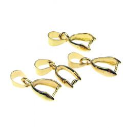 Накрайник метал за висулка 20x7 мм дупка 4x6 мм цвят злато -10 броя