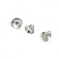 Накрайник метал за висулка 8x5.5 мм дупка 1.8 мм цвят сребро -10 броя