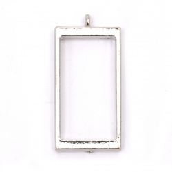 Основа за медальон рамка от цинкова сплав 21.5x40.4 мм правоъгълник цвят сребро