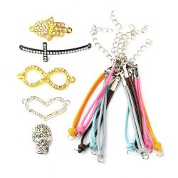Комплект за направа на гривни -шнур Корея с накрайници и закопчалка -5 броя, метални свързващи елементи с кристали -5 броя