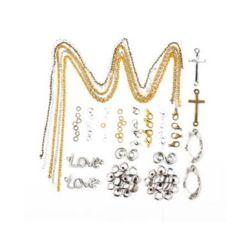 Set de bijuterii - lanț - 5 bucăți, clemă - 8 bucăți, inele - 40 bucăți, elemente metalice de legătură - 10 bucăți