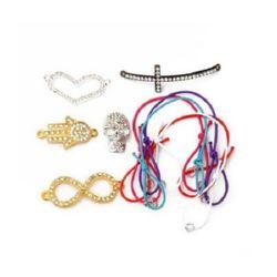 Σετ για κατασκευή βραχιολιών - ελαστικό κορδόνι - 5 τεμάχια μεταλλικών δακτυλίων - 5 τεμάχια, μεταλλική σύνδεσμοι με κρύσταλλα - 5 τεμάχια