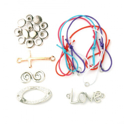 Комплект за направа на гривни- шнур ластик- 5 броя, метални халки -5 броя, метални свързващи елементи -5 броя