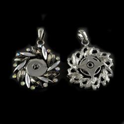 Cristale metalice cu flori pandantive pentru butonul de bifare 51x43x6,5 mm gaură 9x5 mm