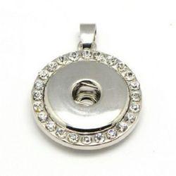 Висулка метал кристали за копче Тик-так 24.5x6 мм дупка 4x6 мм