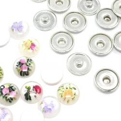 Set de nasturi cu fixare de 18mm Cabochon din rășină, haine de bricolaj, decorațiuni