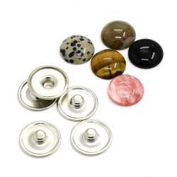 Set de nasturi snap Cabochon din rășină, haine de bricolaj, 18 mm