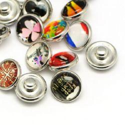 Set de nasturi snap, cabochon din sticlă, haine de bricolaj, 12 mm