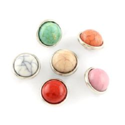 Snap buttons, Turquoise Imitation, Mixed Colors 12 mm Cabochon