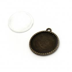 Комплект метална висулка 32x28x2 мм дупка 2 мм цвят антик бронз и кабошон прозрачен 25x7.4 мм -6 броя