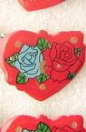 Светещи със секретна игла сърце с две рози - синя и червена-мин.заявка 5 броя