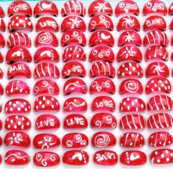 Пръстен прозрачен червен рисуван б/ч