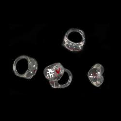 Пръстен прозрачен сърце рисуван б/ч
