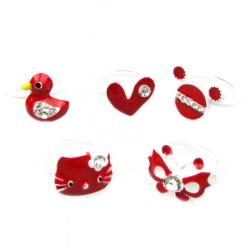 Пръстен метален бяло и червено асорте 5 вида