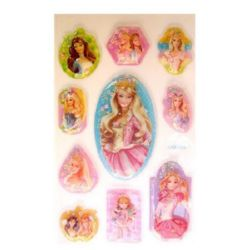 Decorative Stickers, 3D with beads, Princess, 10 pieces