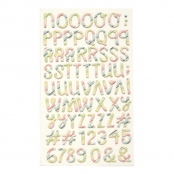 stickers letters and numbers 25x3 ~ 25 mm colored -145 pieces