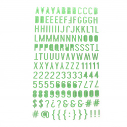Самозалепващи стикери букви цифри и знаци 10x2~10 мм цвят зелен -145 броя