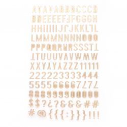 stickers letters numbers and signs 10x2 ~ 10 mm color gold -145 pieces