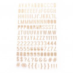 Самозалепващи стикери букви цифри и знаци 10x2~10 мм цвят злато -145 броя