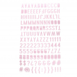 Самозалепващи стикери букви цифри и знаци 10x2~10 мм цвят розов -145 броя