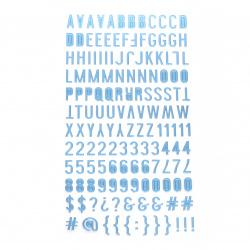 Самозалепващи стикери букви цифри и знаци 10x2~10 мм цвят син -145 броя