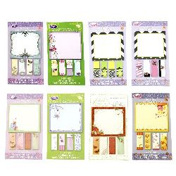 Sticky Notes Set 51x17 mm 4 blocks of 30 pieces, 87x88 mm 30 pieces of assorted motifs
