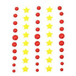 Enamel pebbles self adhesive circle 4 ± 8 mm star 9 mm -46 pieces