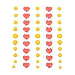 Αυτοκόλλητα στρόγγυλα 5,5 ~ 8 mm καρδιά 10x8 mm σμάλτο -48 κομμάτια