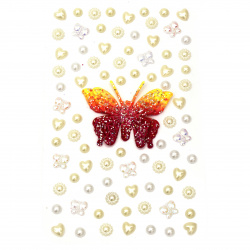 Self-adhesive stones pearl and acrylic various shapes color white