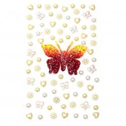 Самозалепващи камъни перла и акрил разни форми цвят бял