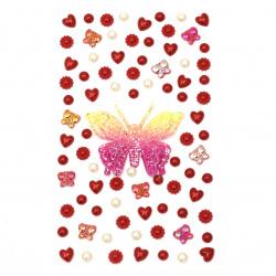 Pietre autoadezive perlate și acrilice de diferite forme de culoare roșu