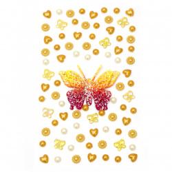 Αυτοκόλλητα πέρλες και πεταλούδα -κίτρινο