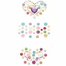 Self-adhesive stones pearl and acrylic various heart and butterfly shapes colored