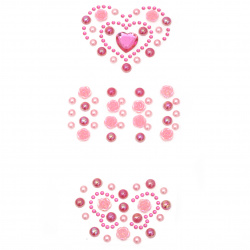 Self-adhesive stones pearl and acrylic various heart and butterfly pink shapes