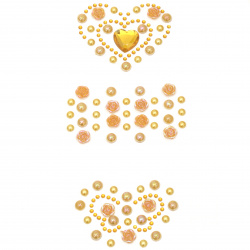 Self-adhesive stones pearl and acrylic various heart and butterfly shapes yellow