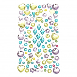 Self-adhesive stones acrylic and pearl various shapes colored