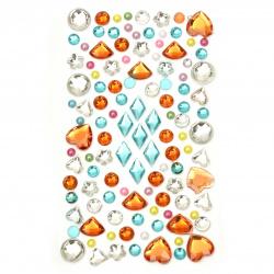 Pietre autoadezive acrilice și perlate diferite forme colorate