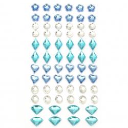Самозалепващи камъни акрил разни форми цветни - 68 броя