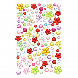 Self-adhesive acrylic stones different sizes mix flowers and colored circles