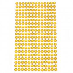 Самозалепващи камъни акрил 6 мм цвят жълт - 260 броя
